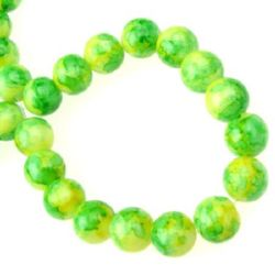 Наниз мъниста стъкло топче 10 мм рисувано жълто/зелено -80 см ~83 броя