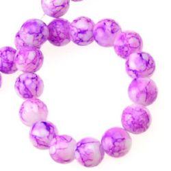 Наниз мъниста стъкло топче 10 мм рисувано лилаво -80 см ~83 броя