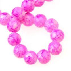 Наниз мъниста стъкло топче 10 мм рисувано розово -80 см ~83 броя