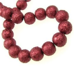 String glass pearl beads, rough ball 10 mm hole 2 mm red ~ 83 pieces