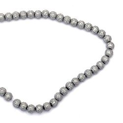 Glass beads strands for jewelry making, rough ball 8~8.5x7.5~8 mm hole 1.5 mm gray ~ 106 pieces