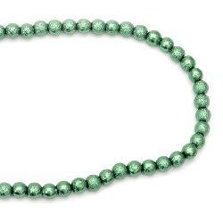 Наниз мъниста стъкло топче 8~8.5x7.5~8 мм дупка 1.5 мм грапаво зелено ~106 броя