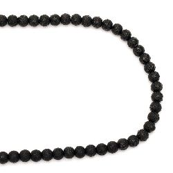String rough glass beads 8~8.5x7.5~8mm hole 1.5mm black ~ 106 pieces