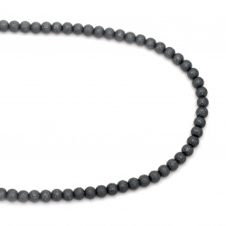 Glass beads strands for jewelry making, rough ball 8~8.5x7.5 ~ 8 mm hole 1.5 mm gray ~ 106 pieces