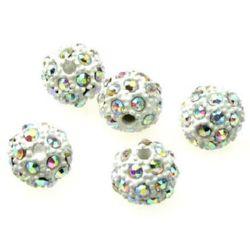 Perle metalice Shamballa cu cristale 12 mm gaură 2,5 mm alb