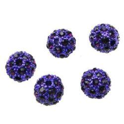 Perle metalice Shambhala cu cristale 12 mm gaură 2,5 mm violet