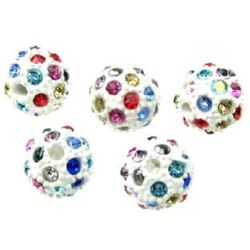 Margele metalice Shamballa cu cristale 12 mm gaură 2,5 mm alb cu MIX