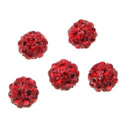 Мънисто шамбала метал с кристали 10 мм дупка 1.7 мм червено