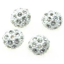 Perle metalice Shamballa cu cristale 10 mm gaură 1.7 mm alb