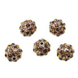 Margele metalice Shamballa cu cristale 10 mm gaură 1.7 mm aur vechi