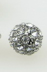 Metal de mărgele Shamballa cu cristale 10 mm gaură 1,7 mm argint