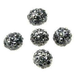 Talon metalic Shamballa cu cristale 10 mm gaură 1,7 mm gri