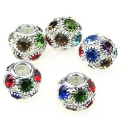 Perla metalică Shamballa cu cristale 12x10 mm gaură 4 mm MIX