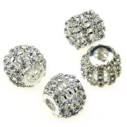 Perla metalică Shamballa cu cristale 18x14 mm gaură 6 mm