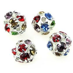 Shambhala metal bead with colorful crystals 10 mm hole 1.5 mm mix