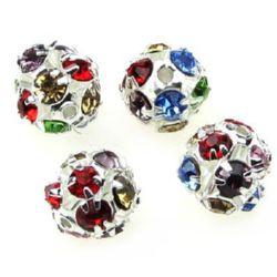 Perle metalice Shamballa cu cristale 10 mm gaură 1,5 mm MIX