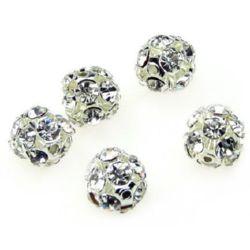 Perle metalice Shamballa cu cristale 10 mm gaură 1,5 mm argintiu