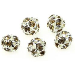 Shambhala metal bead  with crystals for handmade necklace jewelry making 10 mm hole 1.5 mm light brown