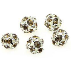 Perle metalice Shamballa cu cristale 10 mm gaură 1,5 mm maron