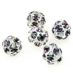 Shambhala metal ball bead with glossy crystals 10 mm hole 1.5 mm purple