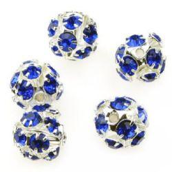 Мънисто шамбала метал с кристали 10 мм дупка 1.5 мм синьо