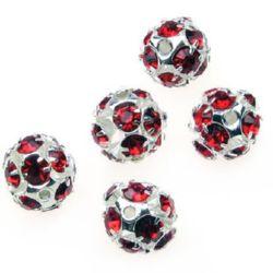 Margele metalic Shamballa cu cristale 10 mm gaură 1,5 mm roșu