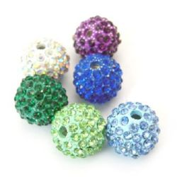 Perla metalică Shamballa cu cristale 12,5 mm gaură 2 mm culori MIX