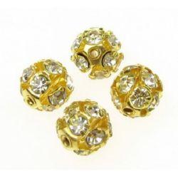 Мънисто шамбала метал злато с кристали бели 10 мм дупка 1.5 мм