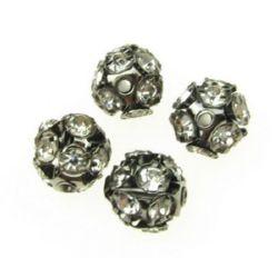 Мънисто шамбала метал инокс с кристали бели 10 мм дупка 1.5 мм