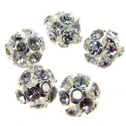 Мънисто шамбала метал с кристали 6 мм дупка 1.5 мм сребро