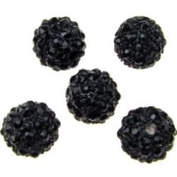 Мънисто шамбала метал с кристали 10 мм дупка 1.7 мм черно
