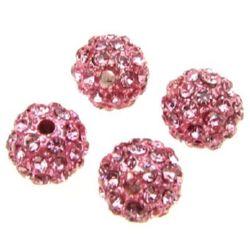 Мънисто шамбала метал с кристали 10 мм дупка 1.7 мм розово