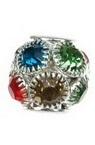 Perla metalică Shamballa cu cristale 12x13 mm gaură 4 mm MIX