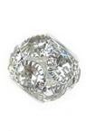 Мънисто шамбала метал с кристали 12x14 мм дупка 4 мм сребро