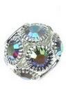 Мънисто шамбала метал с кристали 12x13 мм дупка 4 мм сребро ДЪГА