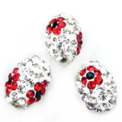 Мънисто шамбала полимер с кристали овал 14x10 мм дупка 2 мм бяло с червени цветя