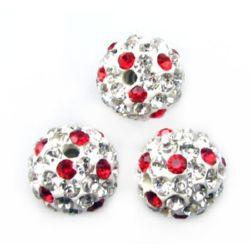 Margele din polimer shamballa cu cristale 10 mm gaură 1,5 mm alb și roșu