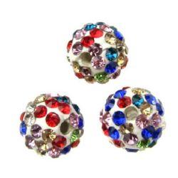 Perlă de polimer Shamballa cu cristale 10 mm gaură 1,5 mm MIX