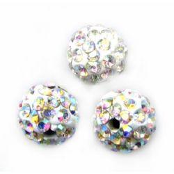 Shamballa polymer clay charm bead with crystals 10 mm hole 1.5 mm rainbow white