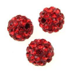 Мънисто шамбала полимер с кристали 10 мм дупка 1.5 мм червено