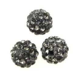 Margele din polimer shamball cu cristale 10 mm gaură 1,5 mm gri