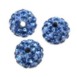 Мънисто шамбала полимер с кристали 10 мм дупка 1.5 мм синьо светло