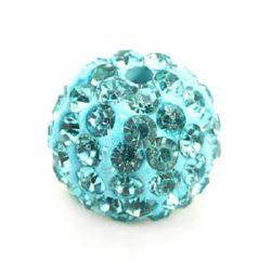 Margele de polimer Shamballa cu cristale turcoaz de 10 mm gaură de 1,5 mm