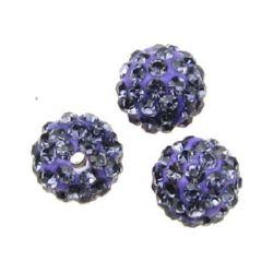 Margele din polimer cu cristale 10 mm gaură 1,5 mm violet