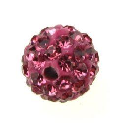 Margele de polimer cu cristale de 10 mm gaură 1,5 mm roz închis