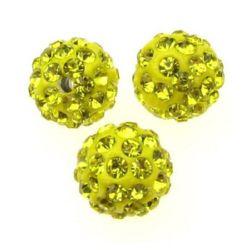 Мънисто шамбала полимер с кристали 10 мм дупка 1.5 мм жълто