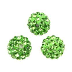 Мънисто шамбала полимер с кристали 10 мм дупка 1.5 мм зелено