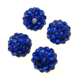 Perla shambhala polimer cu cristale 10 mm gaură 1,5 mm albastru închis