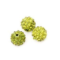 Мънисто шамбала полимер с кристали 10 мм дупка 1.5 мм зелено тревисто