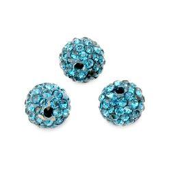 Мънисто шамбала полимер с кристали 10 мм дупка 1.5 мм синьо